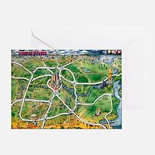 Unique Cartoon map of houston texas Greeting Card