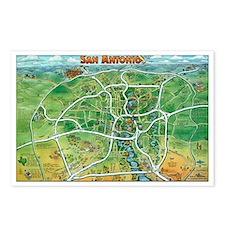 Cool San antonio texas cartoon map Postcards (Package of 8)