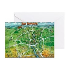 Funny San antonio texas cartoon map Greeting Cards (Pk of 10)