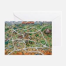 Atlanta cartoon map Greeting Card