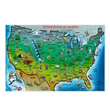 Cute Cartoon map of us Postcards (Package of 8)