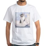 Kitten With Bowl White T-Shirt