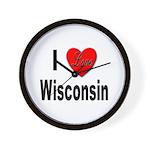 I Love Wisconsin Wall Clock