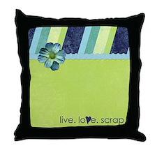 """live. love. scrap."" Throw Pillow"