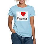 I Love Wisconsin (Front) Women's Pink T-Shirt