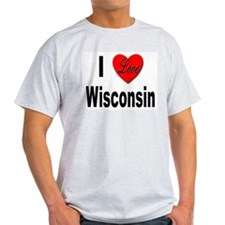 I Love Wisconsin (Front) Ash Grey T-Shirt