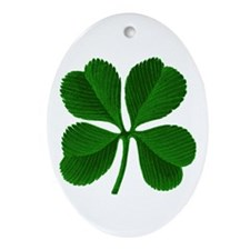 Luck of the Irish Four Leaf Clover Oval Ornament