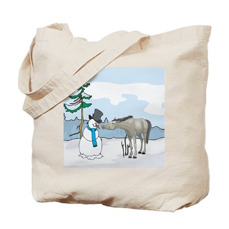 Snowman And Horse Tote Bag