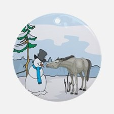 Snowman And Horse Ornament (Round)