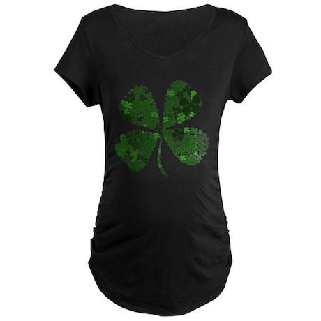 Extra Lucky Four Leaf Clover Maternity Dark T-Shir