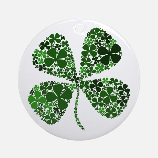 Extra Lucky Four Leaf Clover Ornament (Round)