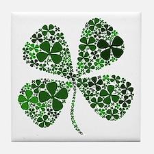 Extra Lucky Four Leaf Clover Tile Coaster