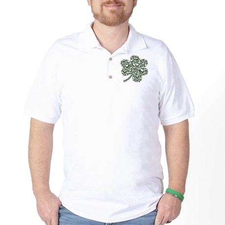 Gothic Skulls Shamrock Irish Goth Golf Shirt