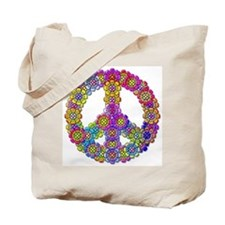 Flower Power Peace Symbol Tote Bag