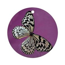 Beautiful Butterfly on Purple Keepsake (Round)