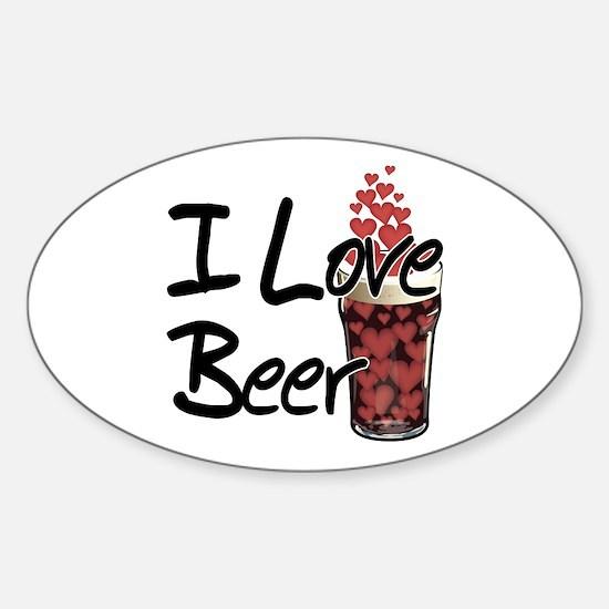 I Love Beer v2 Oval Decal