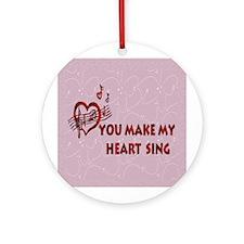 Heart Song Valentine Ornament (Round)