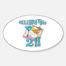 Celebrating 21 Oval Decal