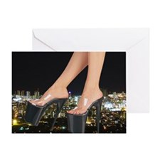Stiletto's in front of a city Greeting Card