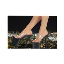 Stiletto's in front of a city Rectangle Magnet