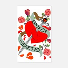 Broken Hearted Tattoo Rectangle Decal