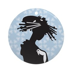 Japanese Geisha Art Ornament (Round)