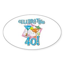 Celebrating 40 Oval Decal