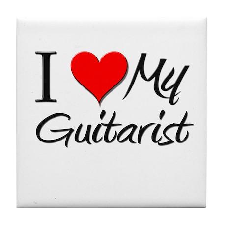 I Heart My Guitarist Tile Coaster