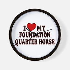 """I Love My Foundation Quarter Horse"" Wall Clock"