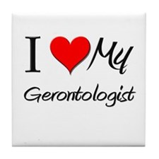 I Heart My Gerontologist Tile Coaster