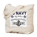 NAVY Sailor defending freedom Tote Bag