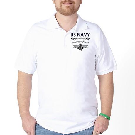 NAVY Husband defending freedom Golf Shirt