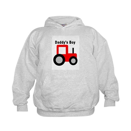 Daddy's Boy Red Tractor Kids Hoodie