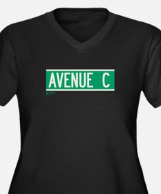 Avenue C in NY Women's Plus Size V-Neck Dark T-Shi