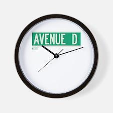 Avenue D in NY Wall Clock