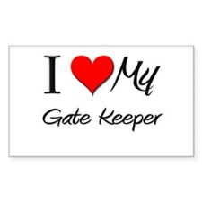 I Heart My Gate Keeper Rectangle Decal