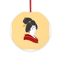 Japanese Geisha Artwork Ornament (Round)