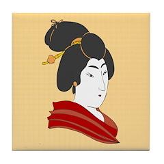 Japanese Geisha Artwork Tile Drink Coaster