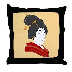 Japanese Geisha Artwork Throw Pillow