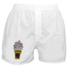 Neon Swirl Ice Cream Cone Boxer Shorts