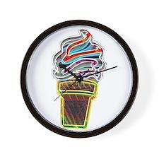 Neon Swirl Ice Cream Cone Wall Clock