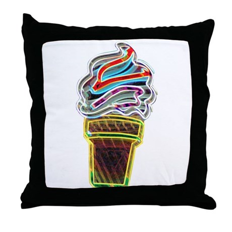 Neon Swirl Ice Cream Cone Throw Pillow