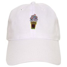 Neon Swirl Ice Cream Cone Baseball Cap