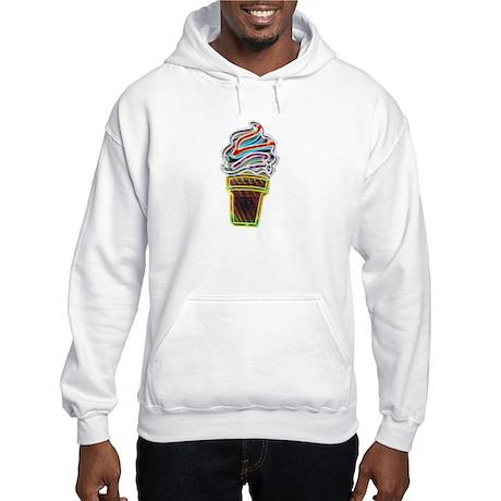 Neon Swirl Ice Cream Cone Hooded Sweatshirt