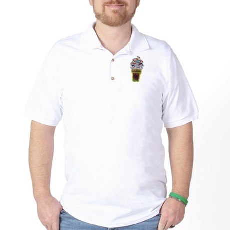 Neon Swirl Ice Cream Cone Golf Shirt