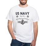 NAVY Son defending freedom White T-Shirt