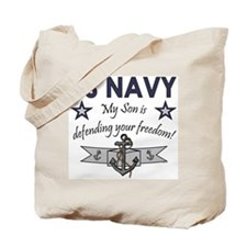 NAVY Son defending freedom Tote Bag