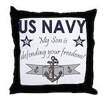 NAVY Son defending freedom Throw Pillow
