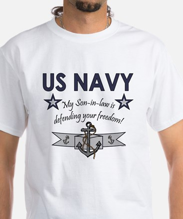 NAVY Son-in-law freedom White T-Shirt