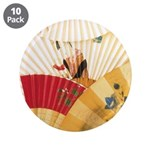 "Vintage Japanese Fan Art 3.5"" Button (10 pack)"